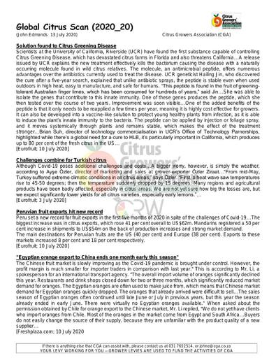 CGA - Global Citrus Scan 20/2020 (13/07/20)
