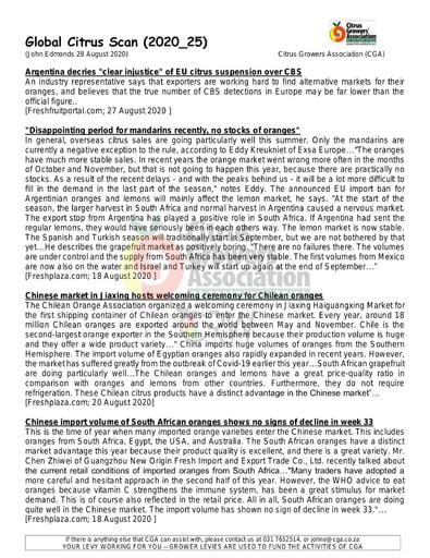 CGA - Global Citrus Scan 25/2020 (28/08/20)