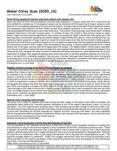 CGA - Global Citrus Scan 16/2020 (05/06/20)