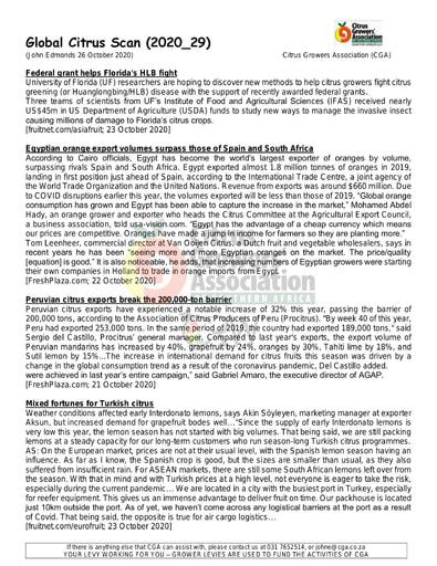 CGA - Global Citrus Scan 29/2020 (26/10/20)