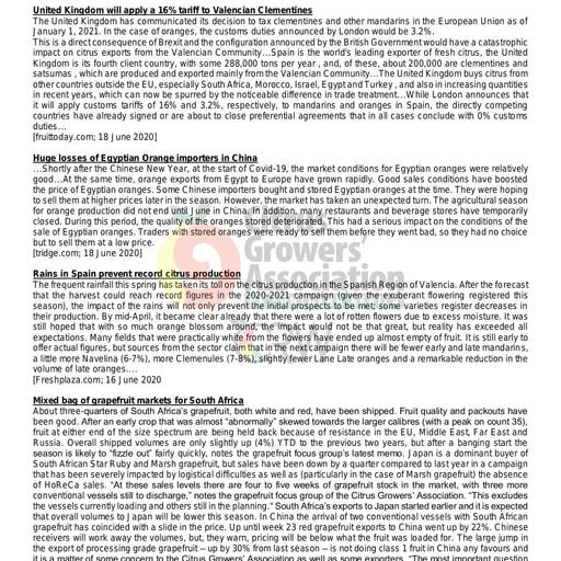 CGA - Global Citrus Scan 18/2020 (19/06/20)