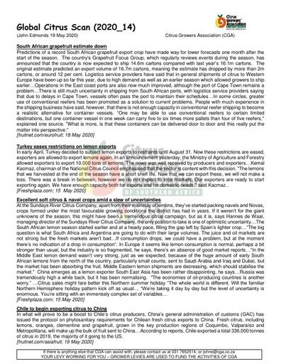 CGA - Global Citrus Scan 14/2020 (19/05/20)