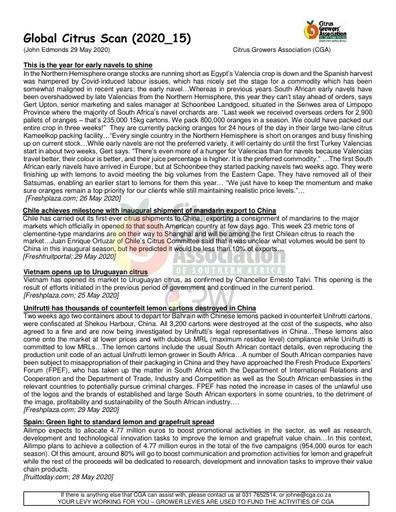 CGA - Global Citrus Scan 15/2020 (29/05/20)