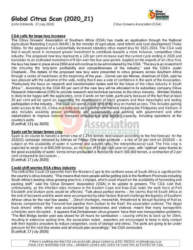 CGA - Global Citrus Scan 21/2020 (17/07/20)