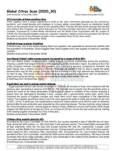 CGA - Global Citrus Scan 30/2020 (13/11/20)