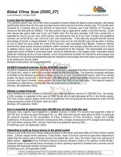 CGA - Global Citrus Scan 27/2020 (01/10/20)