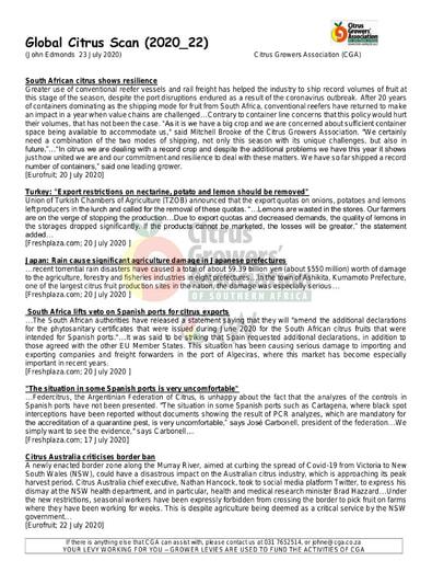 CGA - Global Citrus Scan 22/2020 (23/07/20)
