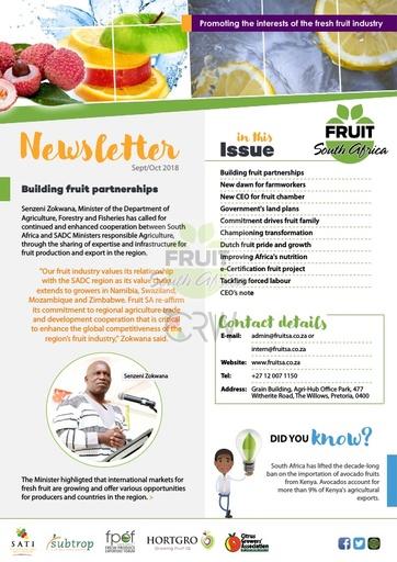 Fruit SA Newsletter (September/October 2018)